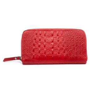 イタリア製 本革 長財布 財布 クロコダイル型押し レッド