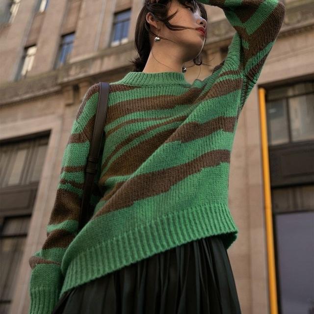Zebra pattern knit KRE1088