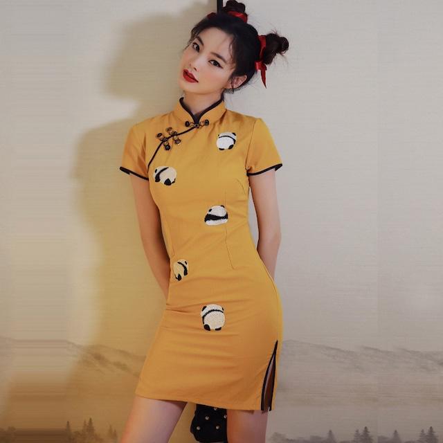 【XIUMEIシリーズ】★チャイナドレス★ パンダ 刺繍 2color ワンピース 中華服 ショート丈 ブラック 黒い イエロー