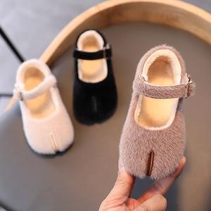 7903冬シューズ 裏ボア暖かい 子供靴 キッズ ガールズ ジュニア シューズ  女の子 女児 子ども  ぺたんこ フラットシューズ13.5cm-18cm