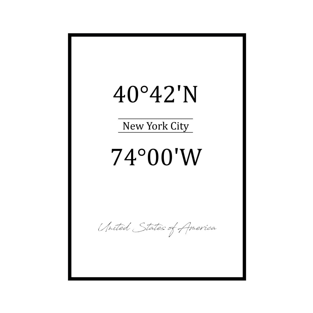 """""""40°42'N 74°00'W NEW YORK"""" US - POSTER [SD-000590] A4サイズ ポスター単品"""