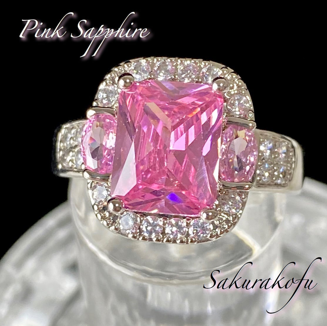 D025 プリンセスリング おおぶりピンクストーン レディース 指輪