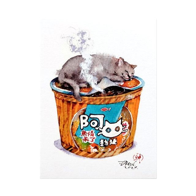 台湾ポストカード 水彩猫「睡一舌等麺泡好」