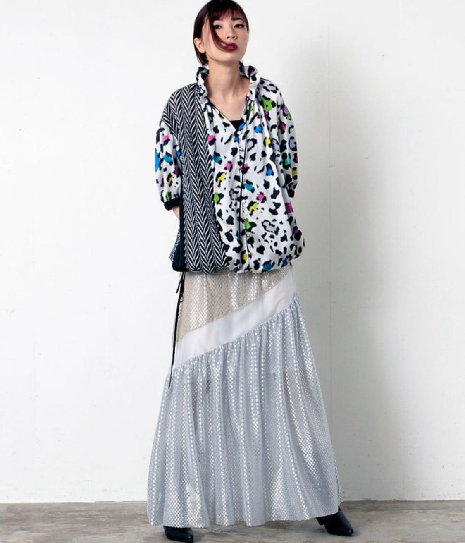 FLUMOR  import shiny dot ×Organdy skirt