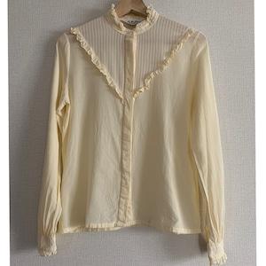 """【送料無料】60's-70's """"Lady Manhattan""""vintage ivory ruffled neck and cuffs blouse"""