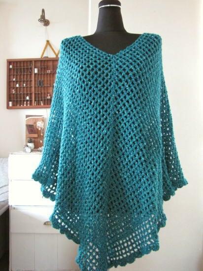 手編みのポンチョ*ブルー/sakura