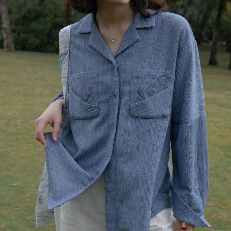 Fold texture shirt(フォールドテクスチャシャツ)b-008