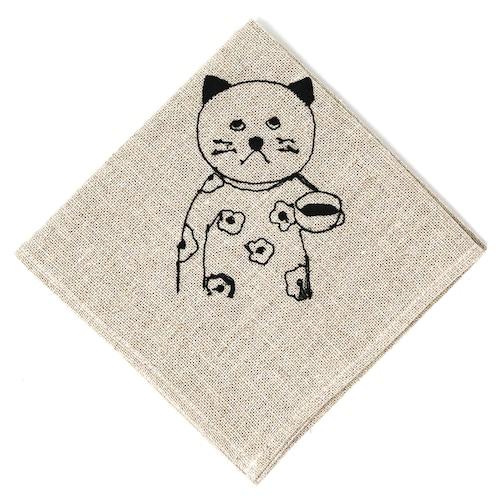 猫お弁当包み(リネンの刺繍)はな