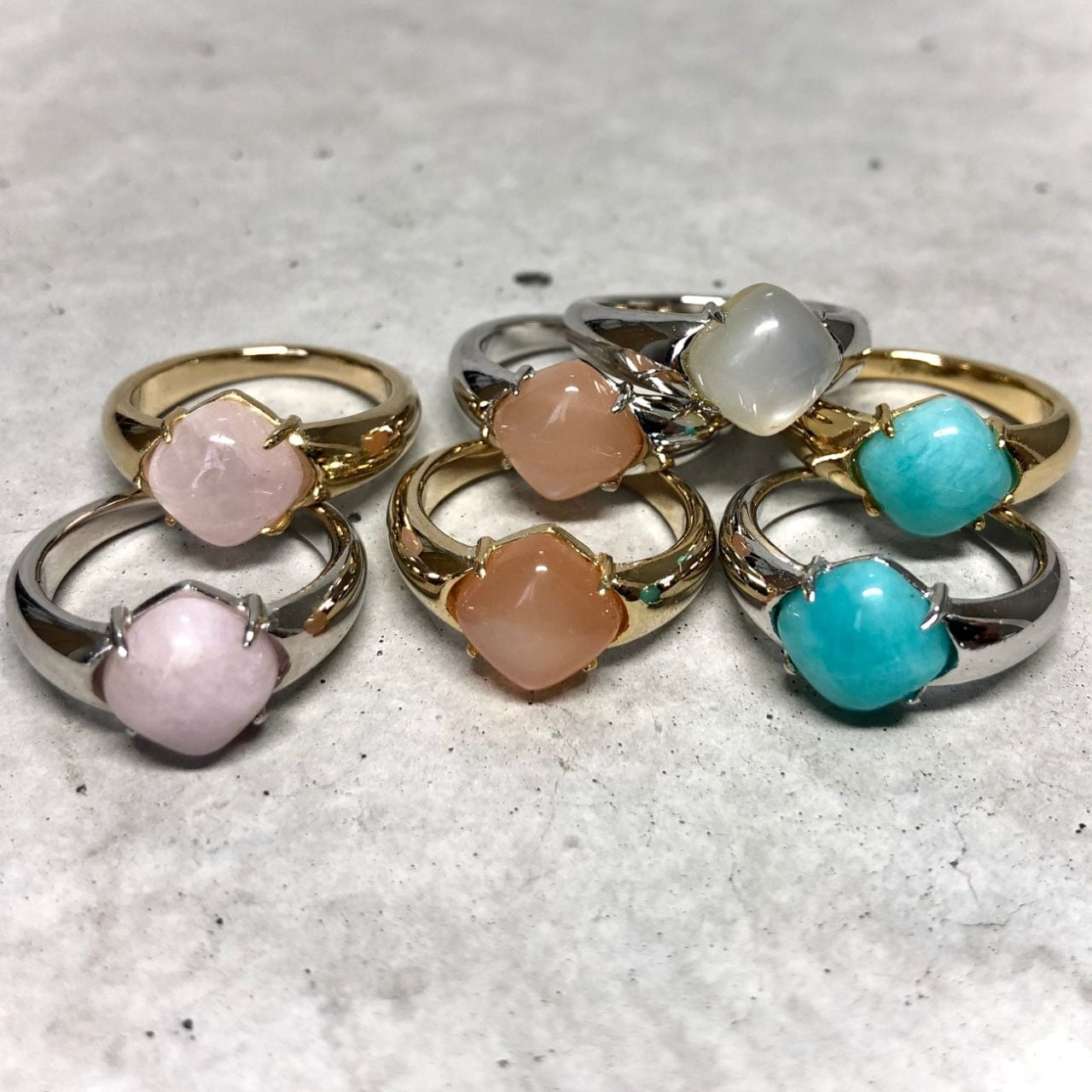 【LR-6BR】Natural stone ring A/ホワイトムーンストーン B/クンツァイト C/アマゾナイト D/ピーチムーンストーン