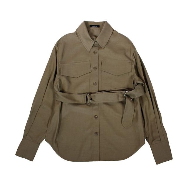 J KOO Military Detail Shirt
