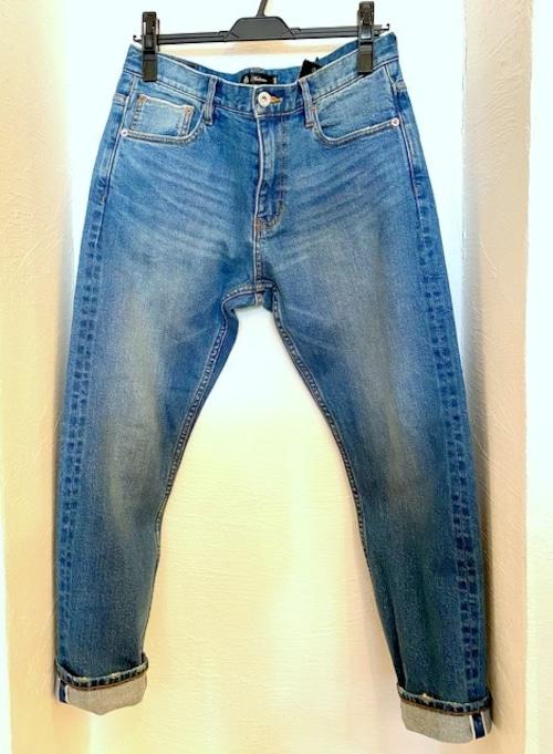 Vintage Washed Selvedge Stretch Denim Ancle Pants Blue Indigo