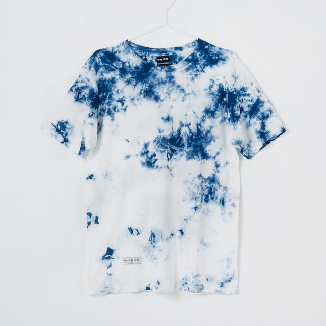 黒紋付染めTshirt 「青霧 -あおきり-(Blue fogs)」
