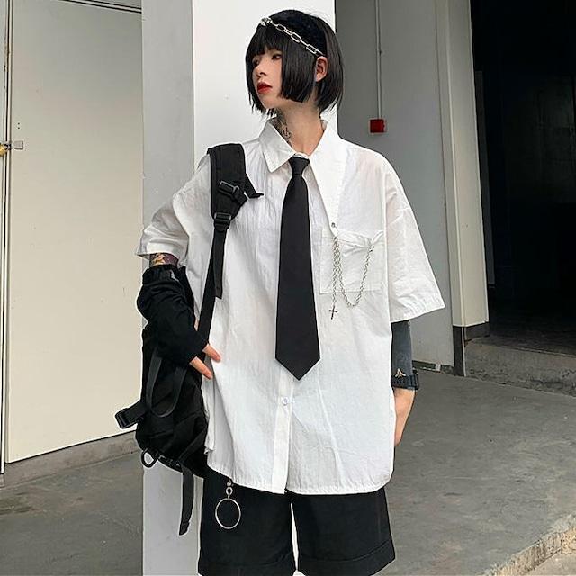 【トップス】設計感ありファッションカジュアル無地半袖シャツ48267895