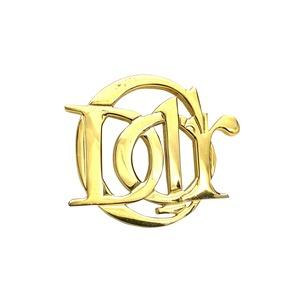 Christian Dior クリスチャン ディオール ロゴ DIOR 丸形 ブローチ ゴールド  shxust vintage  ヴィンテージ オールド