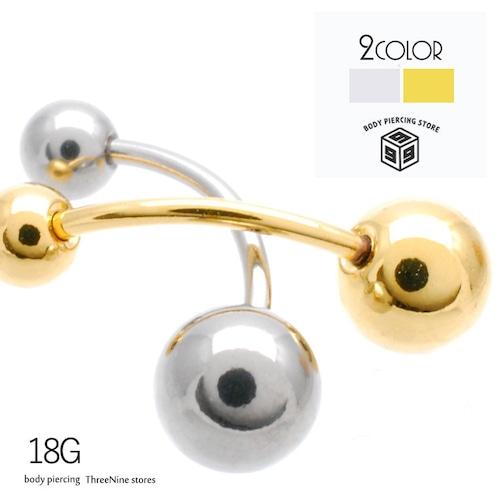 ボディピアス 18G  4mm 6mm シンプル バナナバーベル 片耳 軟骨ピアス TPB033