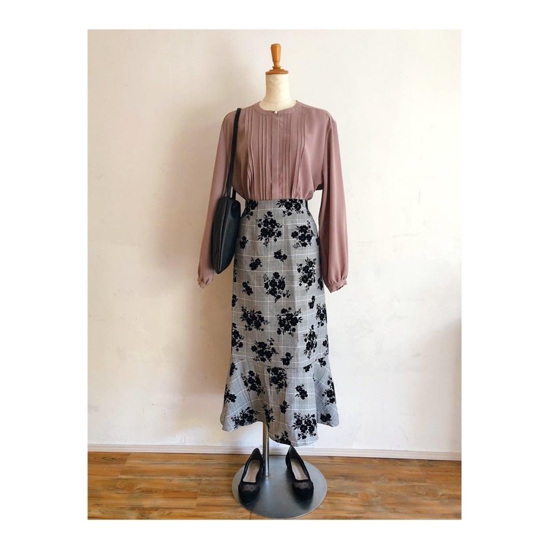 フラワーフロッキー+グレンチェックマーメイドスカート