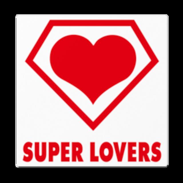SUPER LOVERS logo/ステッカー白ベース 16cm枠内