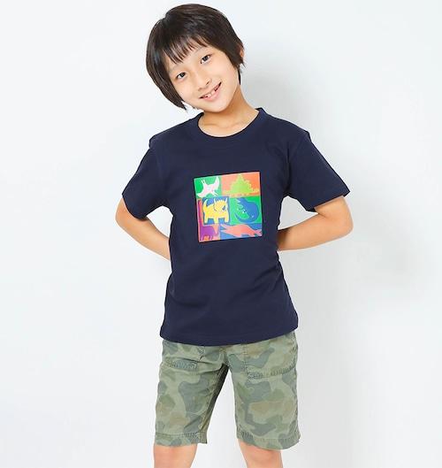 恐竜プリントTシャツ(子供用キューブプリント)ネイビー