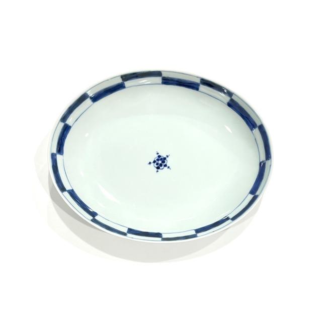 【SALE】市松 楕円皿《デッドストック》