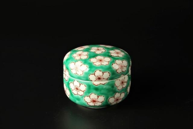 緑濃花蓋物 清水焼