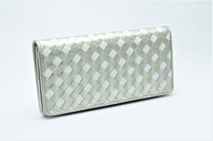 長財布(薄型)プラチナ箔&ホワイト・メッシュ・プレミアム