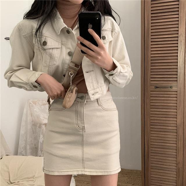 【セット】「単品注文」ファッションデニムジャケット+無地デニムスカート+カットソー51710617