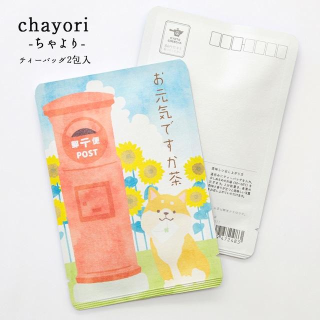 お元気ですか茶(ひまわりと柴犬) chayori  玉露ティーバッグ2包入 お茶入りポストカード