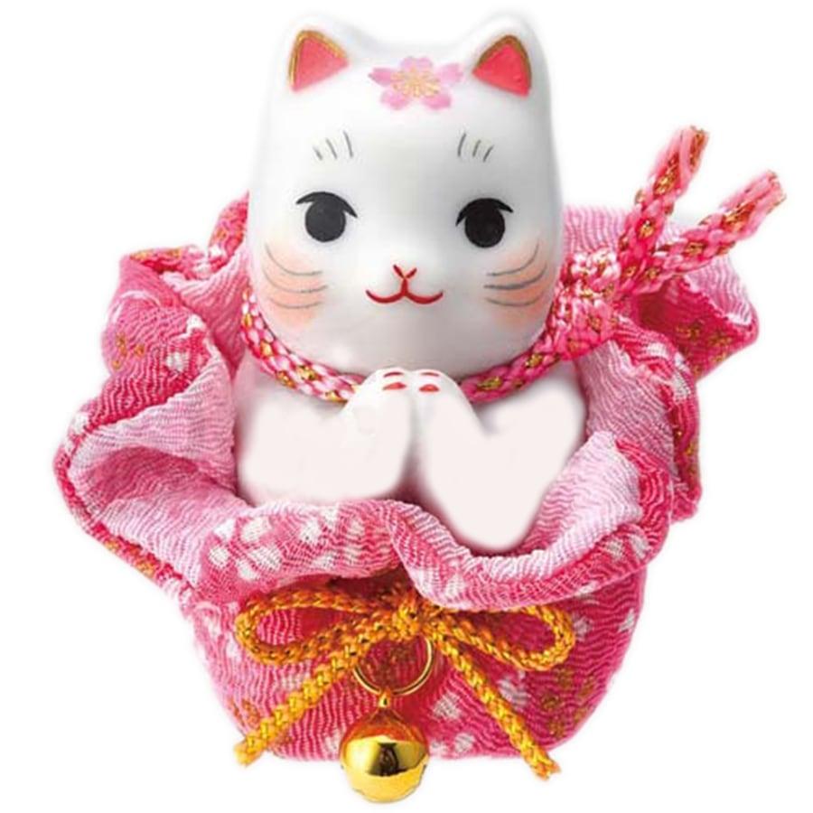 【開運招福祈願】薬師窯招き猫 彩絵 桜巾着 お願い猫 おめでたい縁起置物