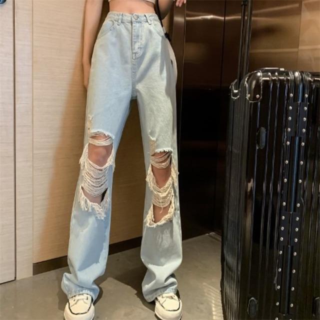 【ボトムス】ハイウエストウォッシュ穴ありファッションデニムパンツ40406541
