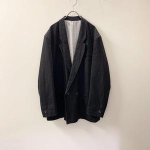 コットン/リネン ダブルテーラードジャケット ブラック size 54 古着