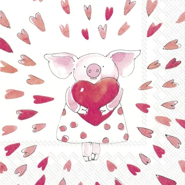 【IHR】バラ売り2枚 ランチサイズ ペーパーナプキン PIGGY LOVE ホワイト