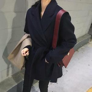 【送料無料】アウター コート 襟付き 防寒 ベルト付き ブラック ネイビー 定番 ベーシック シンプル 大人 秋冬