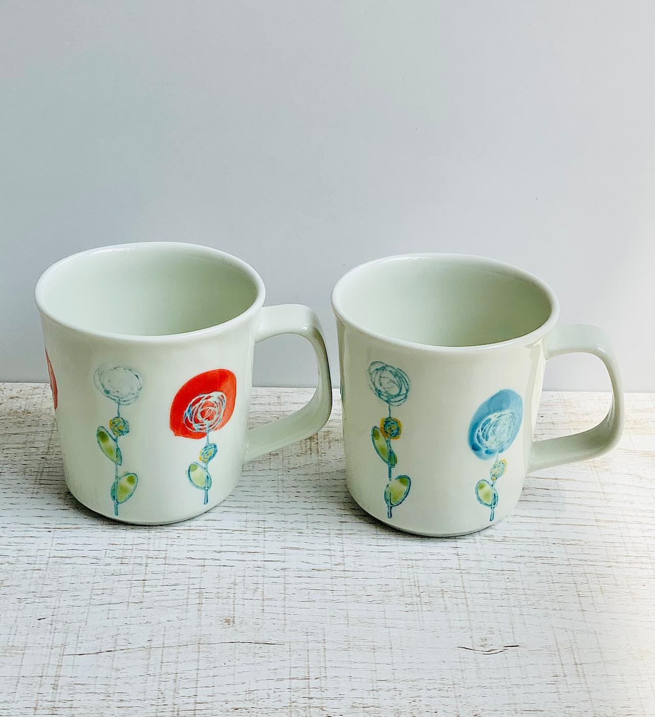 【波佐見焼】【ローザ】【 マグカップ】ミニサイズ マグ 花柄 バラ おしゃれ かわいい