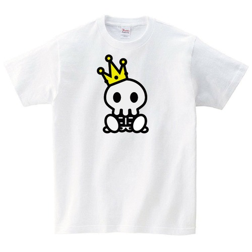 王様ドクロ Tシャツ メンズ レディース 半袖 写真 ゆったり おしゃれ トップス 白 ペアルック プレゼント 大きいサイズ 綿100% 160 S M L XL