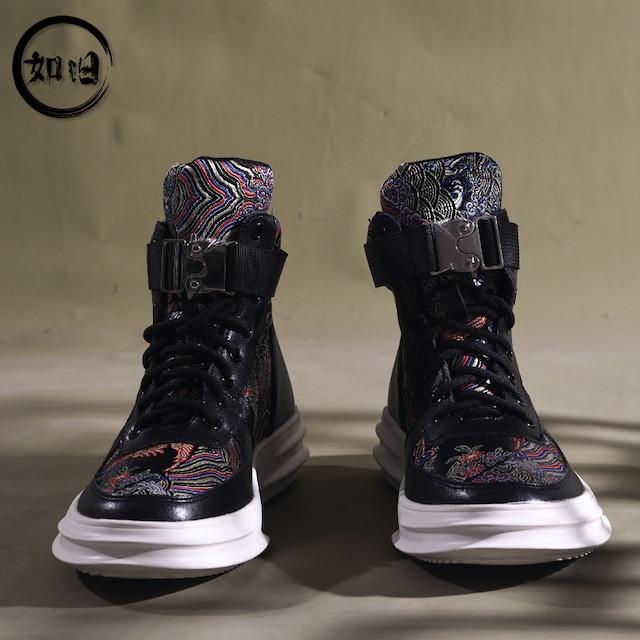 【如旧シリーズ】★刺繍靴★メンズ 2color ブーツ シューズ 擦れにくい チャイナ風靴 黒 白 サイズ38 39 40 41 42 43