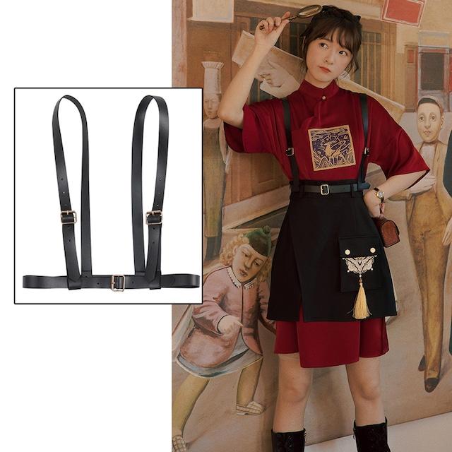 【織羽集シリーズ】★PUベルト★ 洋服と合わせやすい ファッション レトロ ブラック 黒い