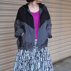 【hippiness】cupro crispy hoodie(black/gray) /【ヒッピネス】キュプラ クリスピー フーディ(ブラック/グレー)