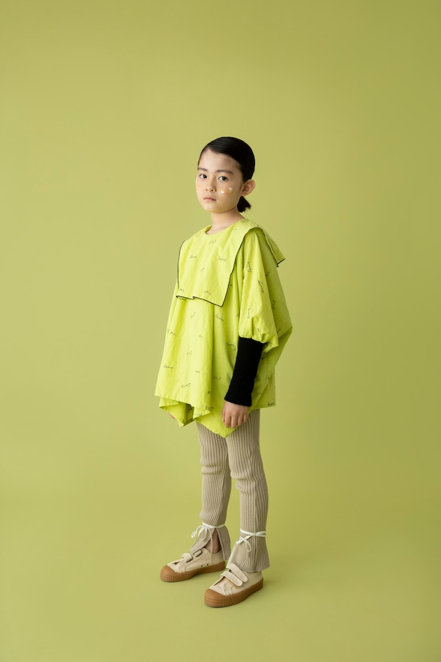 【21AW】folkmade(フォークメイド)  embroidery rogo sailor シャツ limegreen×black(S/M)