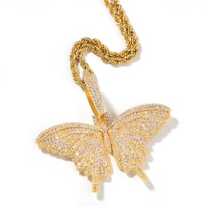 Iced Out Big Butterfly Necklace