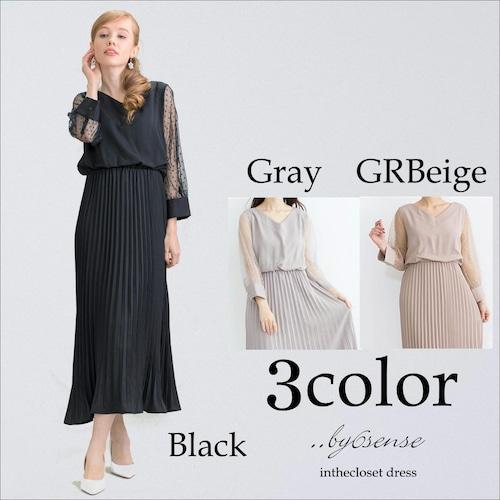 《結婚式・二次会などのパーティシーンに》袖ドットチュールプリーツドレス フリーサイズ 3色展開