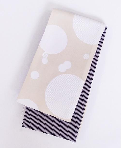 半幅帯【縞と水玉】パールホワイト