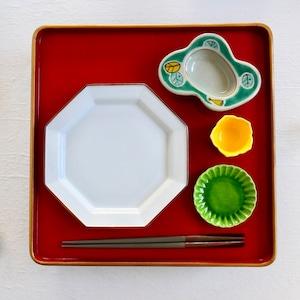 〈再入荷〉【30425】 九谷の白 八角中皿/ Kutani White Octagon Plate M/ Showa Era