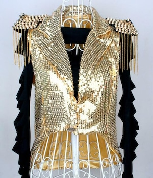 M1205レディースベスト スパンコール ベスト ダンスウェア 舞台衣装 ステージ衣装 燕尾服 ダンス衣装 トップス