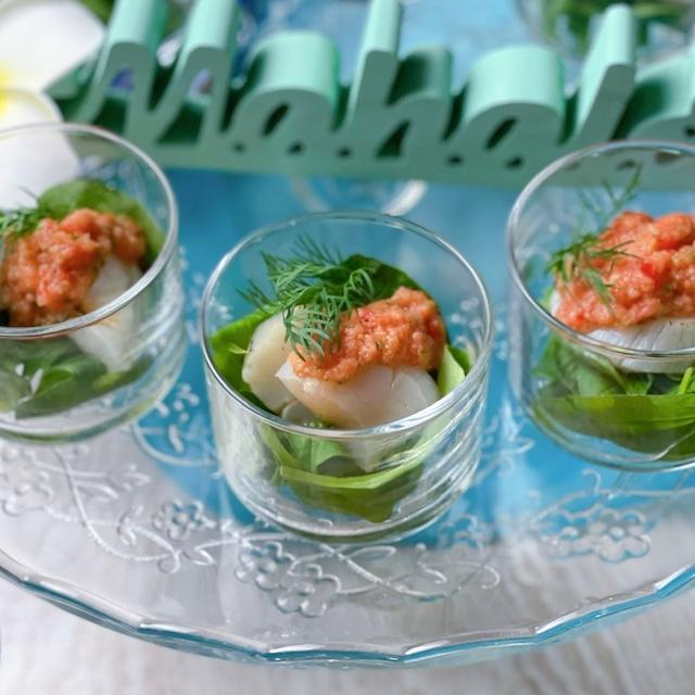 焼き帆立のガスパチョ風サラダ