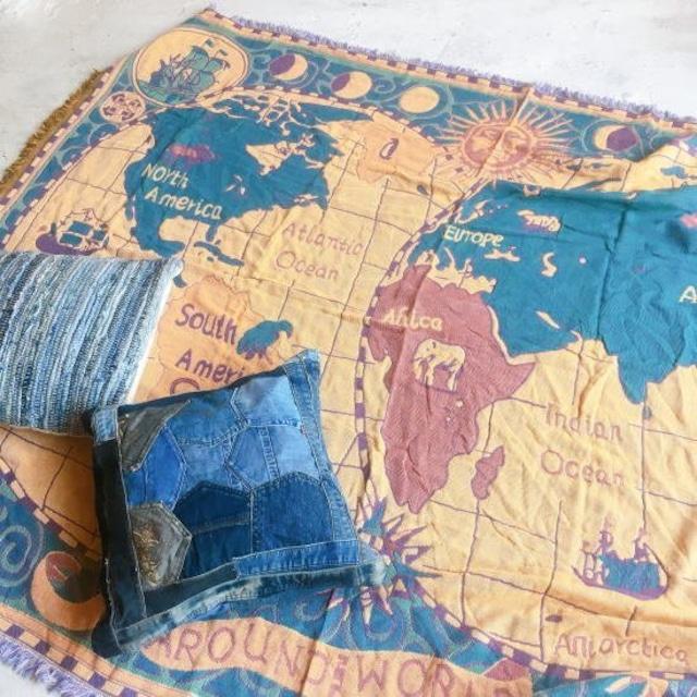 TOPANGA Homefurnishing 世界地図のスローケット 180×230cm