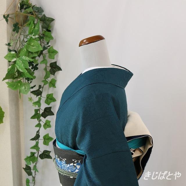 正絹 白地に花の刺繍の袋帯