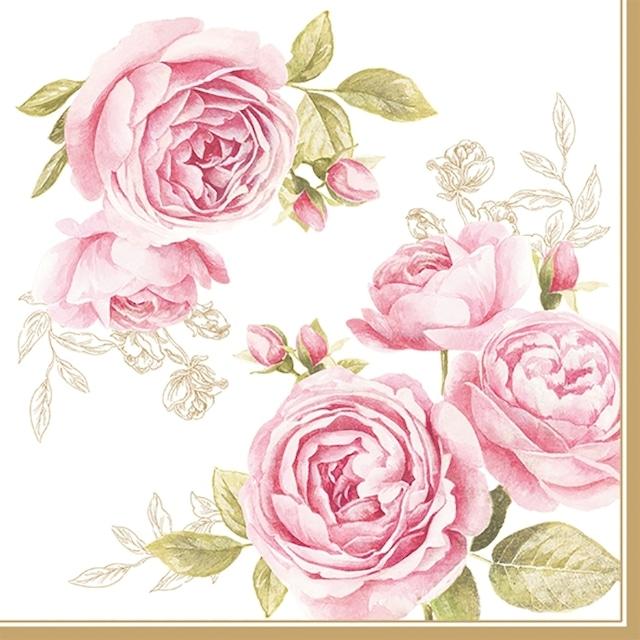 【Easy Life】バラ売り2枚 ランチサイズ ペーパーナプキン DELICATE ROSES ホワイト