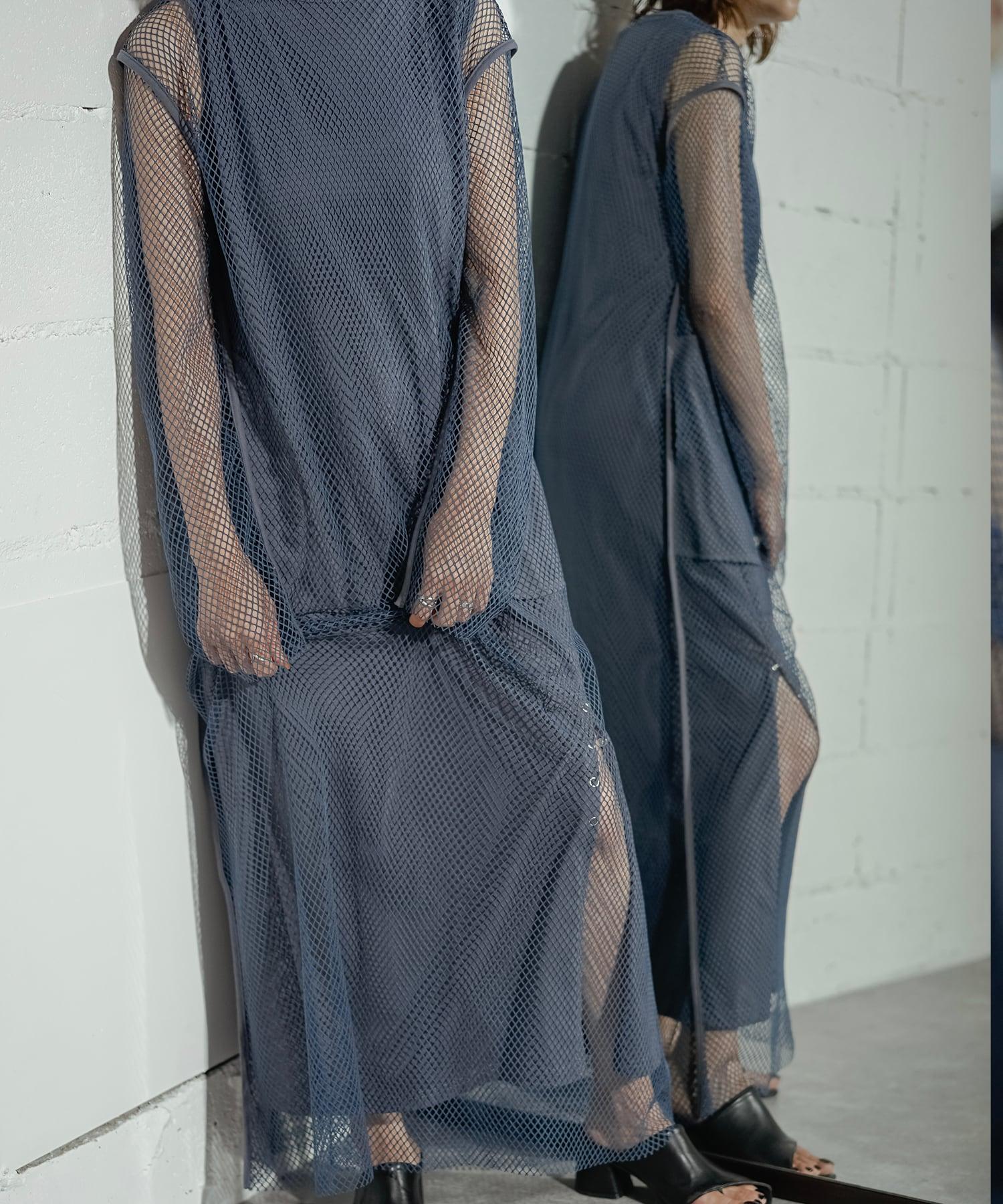 MESH LONG DRESS 2P (BLUE)