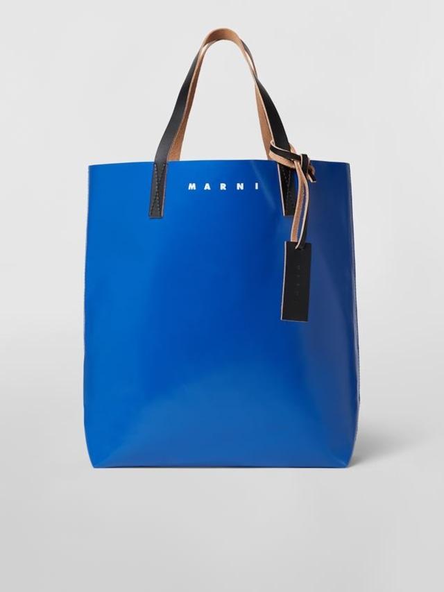 MARNI PVC TRIBECA VERTICAL SHOPPING BAG Blue/Bordeaux