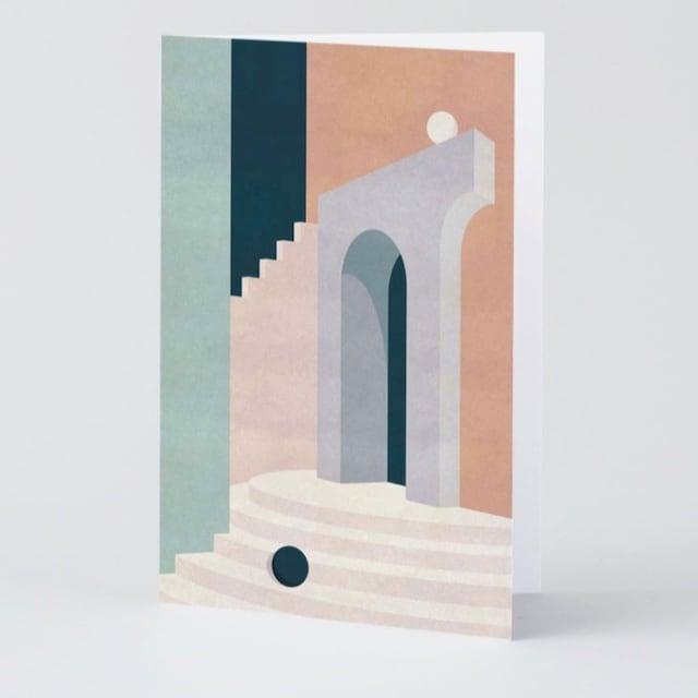 WRAP / Pastel Doorway & Stairs ART CARD -Artwork by Charlotte Taylor-